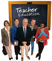 Photo of teachers in front of a blackboard with Teacher Education written on the board