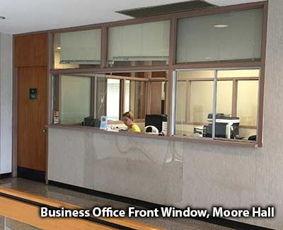 The Business Office Front Window on the third floor of Moore Hall