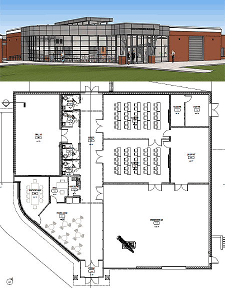 Exterior and Floor Plan for the new WPCC Mechatronics Building