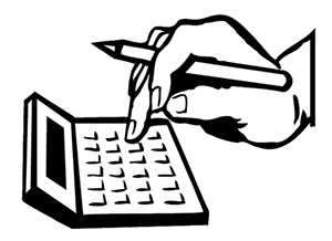 Clipart of a hand holding a pencil and typing on a calculator
