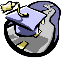Clip Art of a graduation cap sitting on a highway