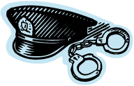 Clip Art of a police hat and handcuffs for the Criminal Justice pathfinder