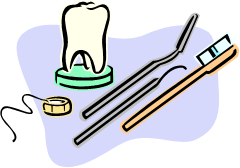 Clip Art of a tooth model, dental floss, and dental tools to represent dental assisting