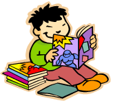 Clip Art of a child reading books