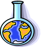 Clip art of a lab flask holding a model of Earth