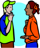Clip art of two individuals using sign language