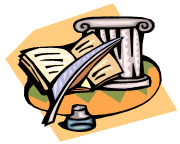 CLip art of a book, quill pen, inkwell, and stone column