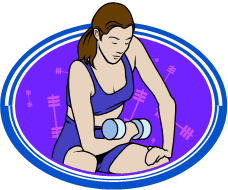 Clip art of a woman lifting weights