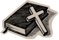 Clip art of a Bible and a cross