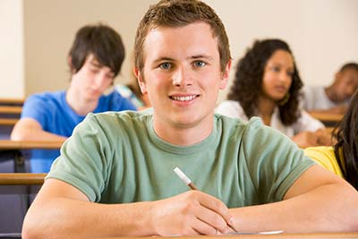 Photo of a smiling male college student