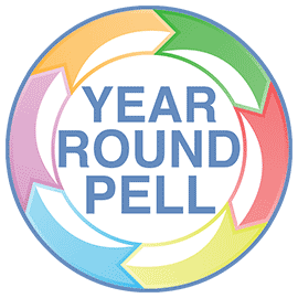 Gr4aphic of a circle of arrows with Year Round Pell written on the inside