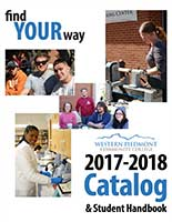 Photo of the cover of the 2017-2018 WPCC Catalog featuring several students in classes and at camus events