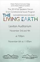 Front cover of the 2014 Speakers Forum Program: The Living Earth: Our Inheritance and Our Legacy