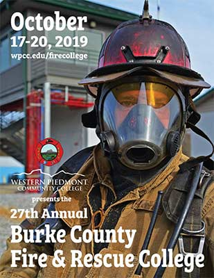 Photo of the cover of the 2019 Fire College booklet featuring a photo of a firefighter