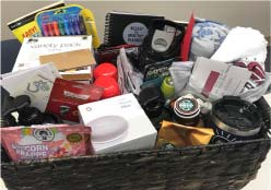 Photo of the wellness basket being given away