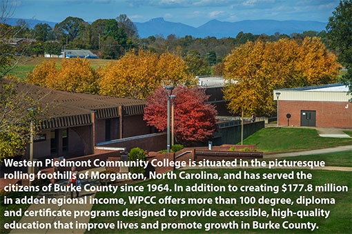 Western Piedmont Community College is situated in the picturesque rolling foothills of Morganton, North Carolina, and has served the citizens of Burke County since 1964. In addition to creating $177.8 million in added regional income, the College offers more than 100 degree, diploma and certification programs designed to provide accessible, high-quality education that improve lives and promote growth in Burke County.