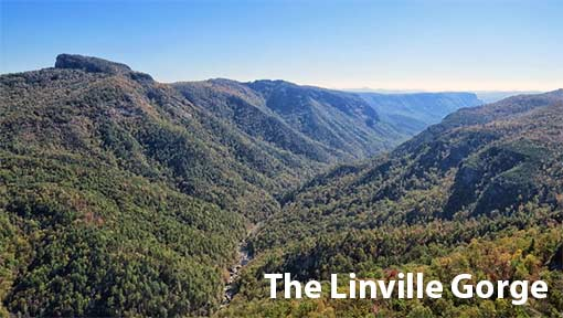 Aerial photo of the Linville Gorge, with Table Rock Mountain at the left
