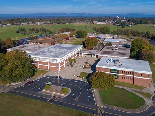 Photo from a drone of the main campus of Western Piedmont Commuinity College. Moore and Burnett Halls are in the foreground