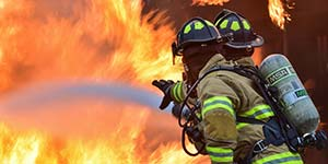 Photo of Firefighters battling a blaze