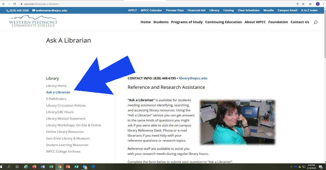 Screenshot of the Ask-A-Librarian Web Page with an arrow showing the location of the link to it in the navigation bar that appears at the left of library pages