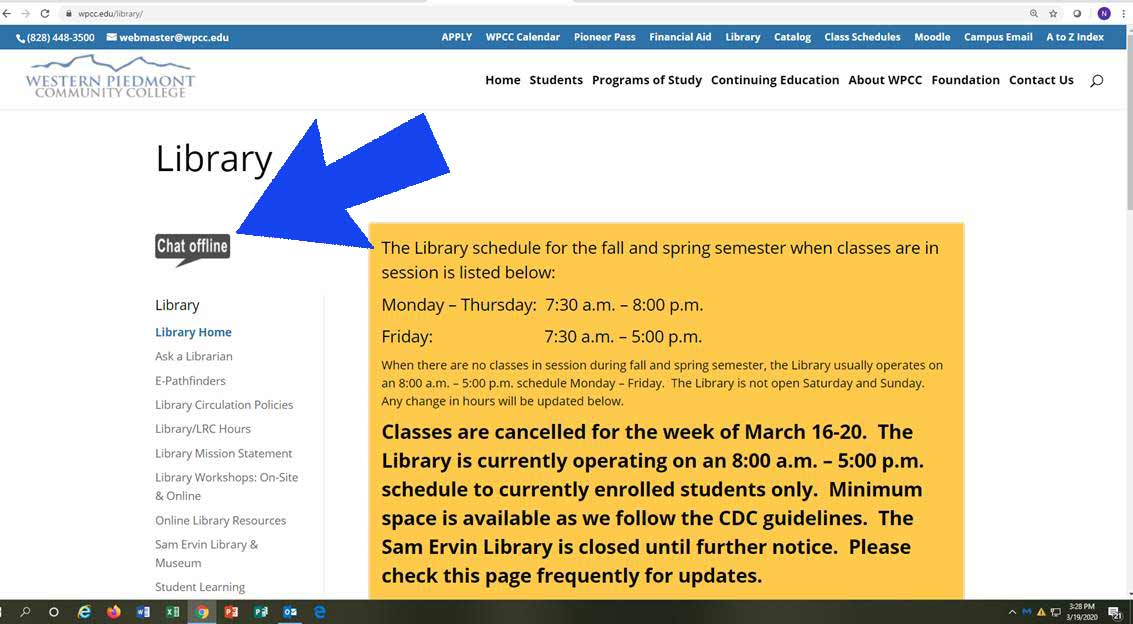 Screenshot of the Library web page showing the location of the NCLive Chat