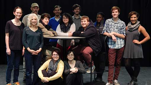 A group of WPCC drama students pose on the stage in Phifer Hall