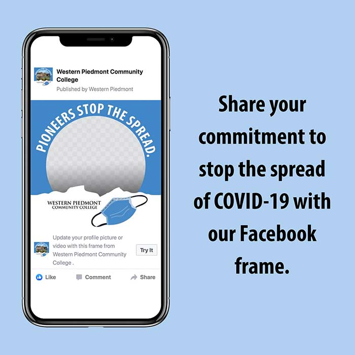 image of a cellphone containing the WPCC Facebook Frame and the words sharre your commitment to stop the spread of COVID-19 with our Facebook frame.