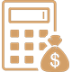 Calculator and Moneybag Icon for Financial Aid