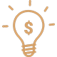 Icon of an idea bulb with a dollar sign in it