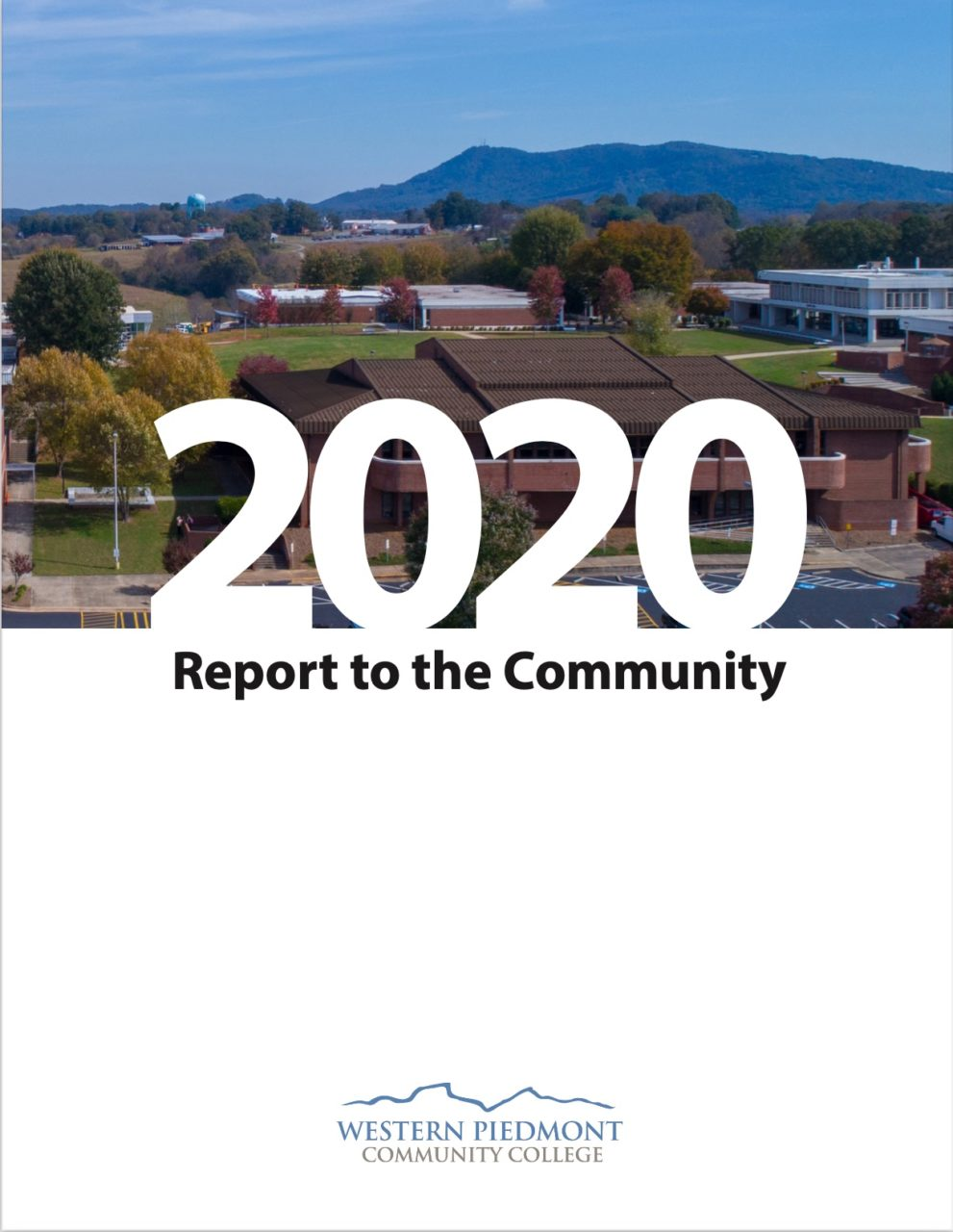 Photo of the front cover of the 2020 Report to the Community featuring several WPCC students working with a robotic hand, using it to pick up objects
