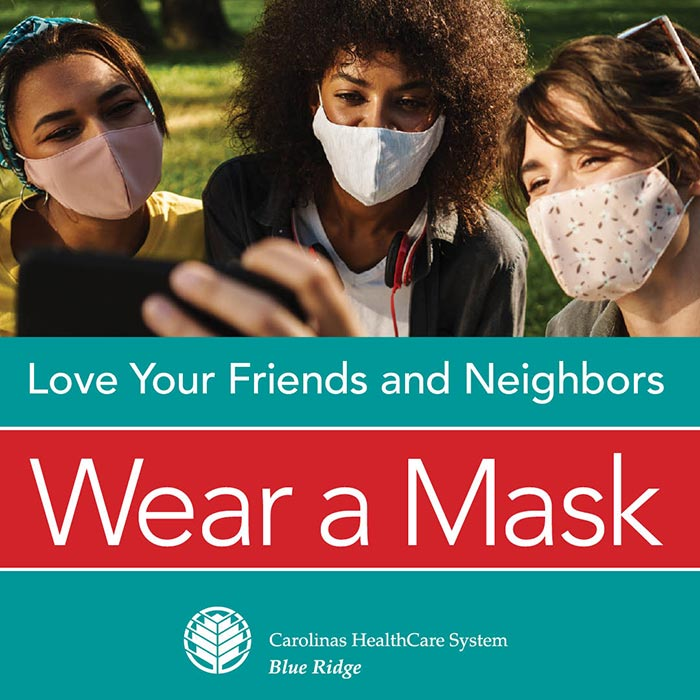 Graphic with 3 people wearing masks and a plea to everyone to wear a mask