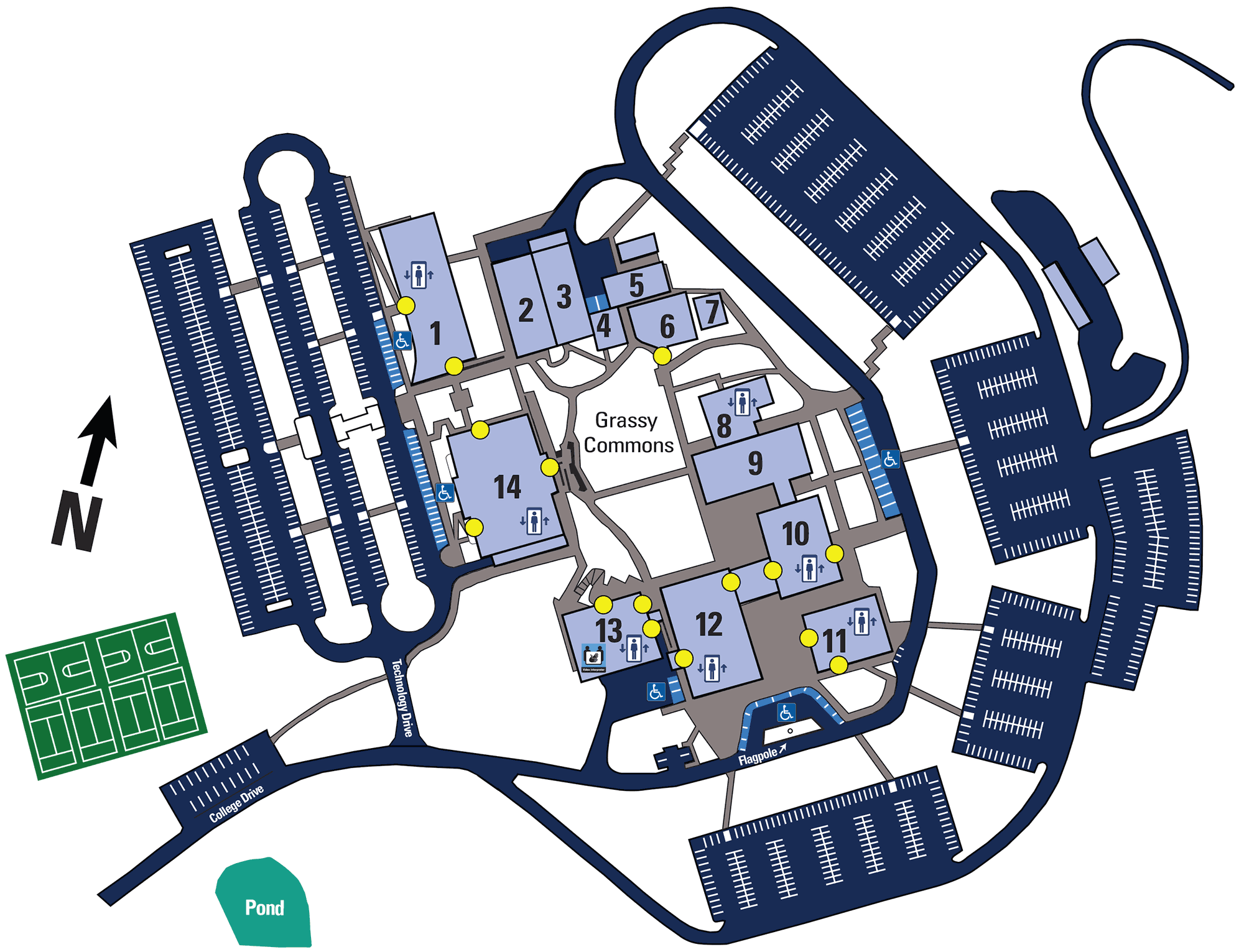 """Birds-eye view of WPCC's main campus showing the layout of 14 buildings that surround the Grassy Commons area which is located in the center. Buildings are numbered in clockwise order, starting at the northwest corner with Carr Hall labeled as """"1"""" and ending with Phifer Hall (next door to Carr Hall) labeled as """"14."""" Parking lots are shown on the perimeter of the campus. For assistance in directions or navigating campus, contact Student Services at 828-448-6046."""