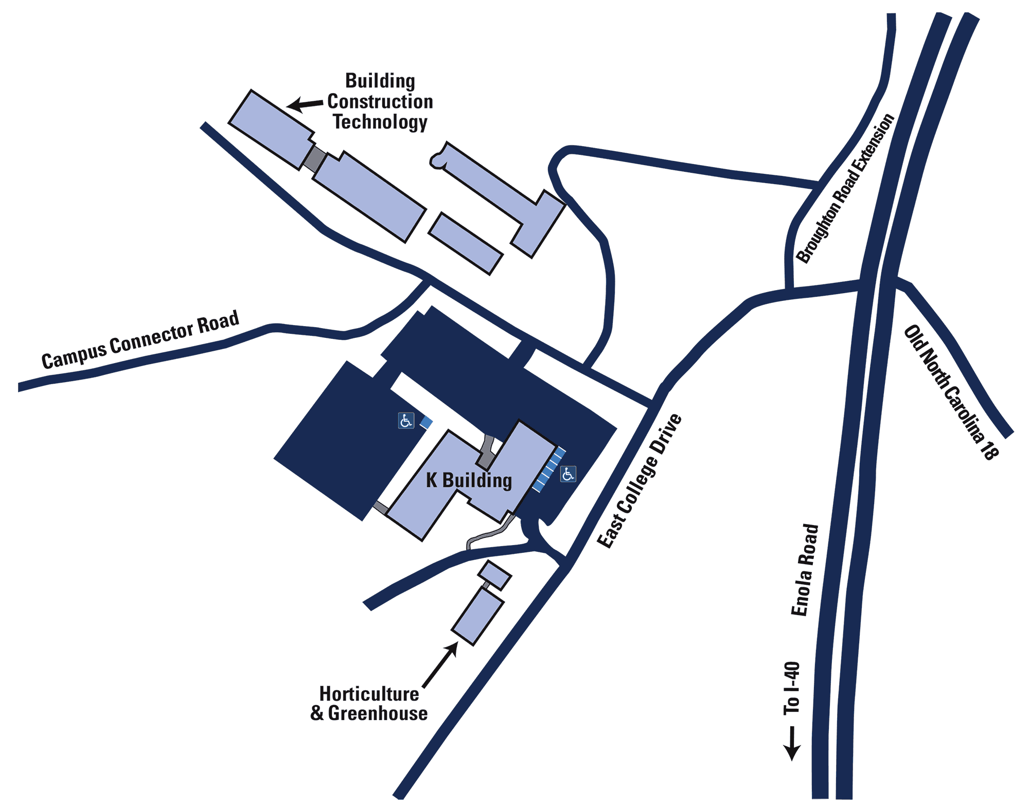 Map of the Jim Richardson Complex with the K Building at the center of the map. The  Building Construction Technology building is at 11 o'clock and the Horticulture program and greenhouse are at 6 o'clock