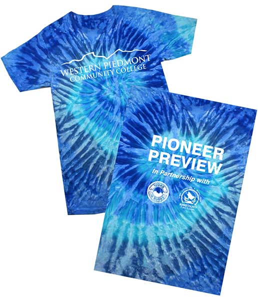 Image of the front and back of they tie-dyed t-ashirt being given out aT Pion per Preview