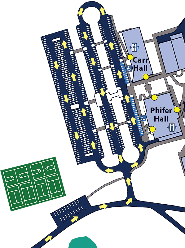 A map showing the general traffic pattern for Pioneer Preview on the WPCC Main Campus