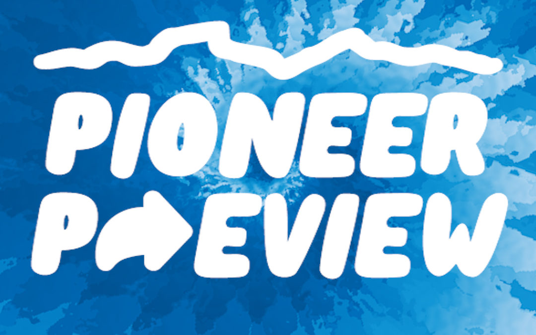 Pioneer Preview logo on top of a blue tie-dye background.
