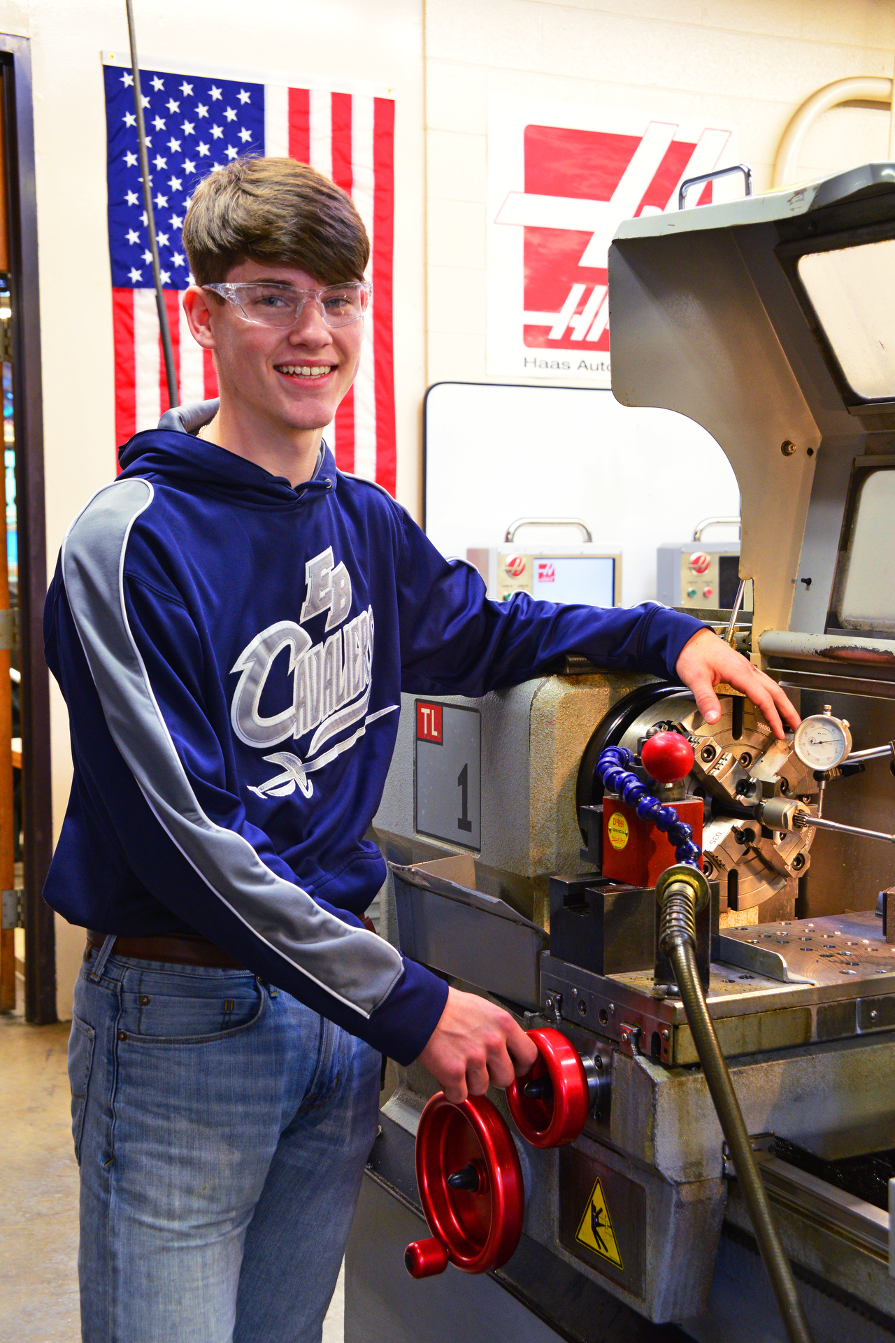 Student works on a machine.