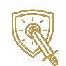Gaming Shield Icon colored gold