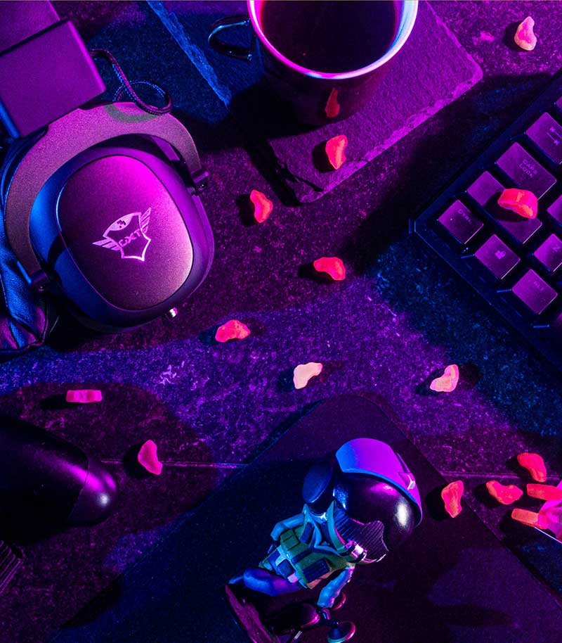 Photo of a keyboard and headphones that are used by a gamer